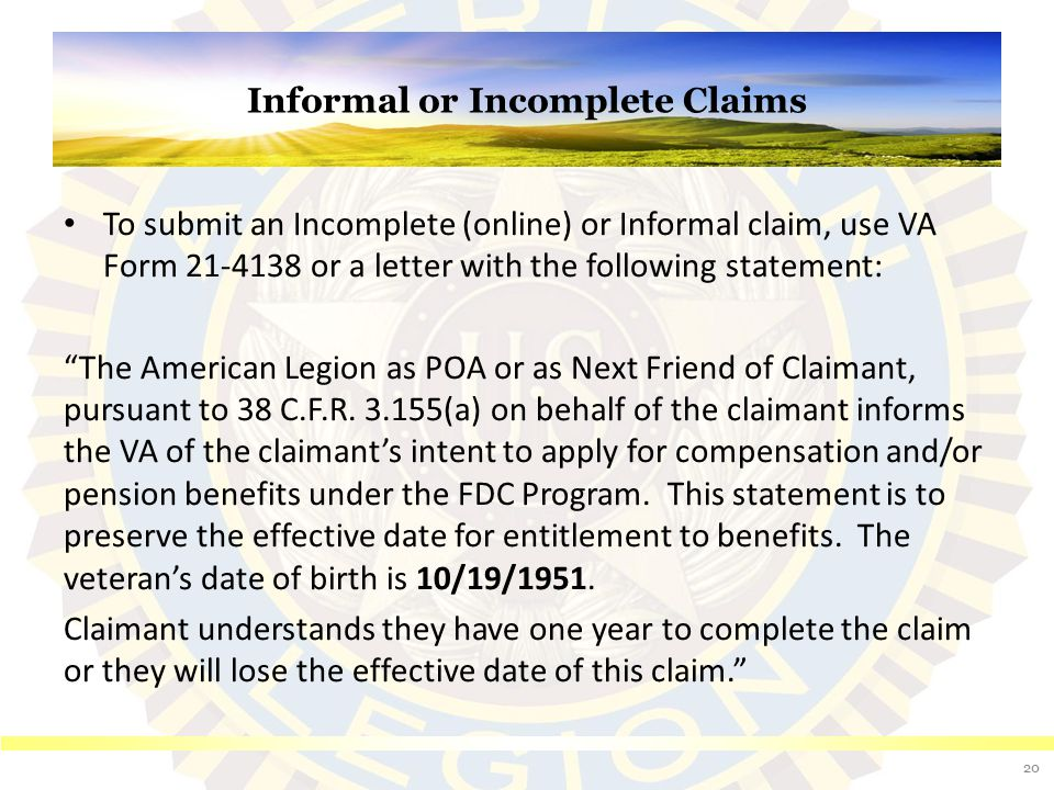 Informal or Incomplete Claims