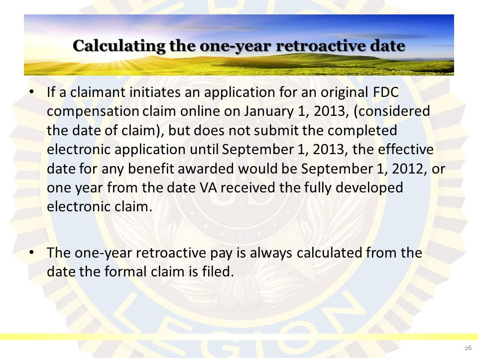 Calculating the one-year retroactive date