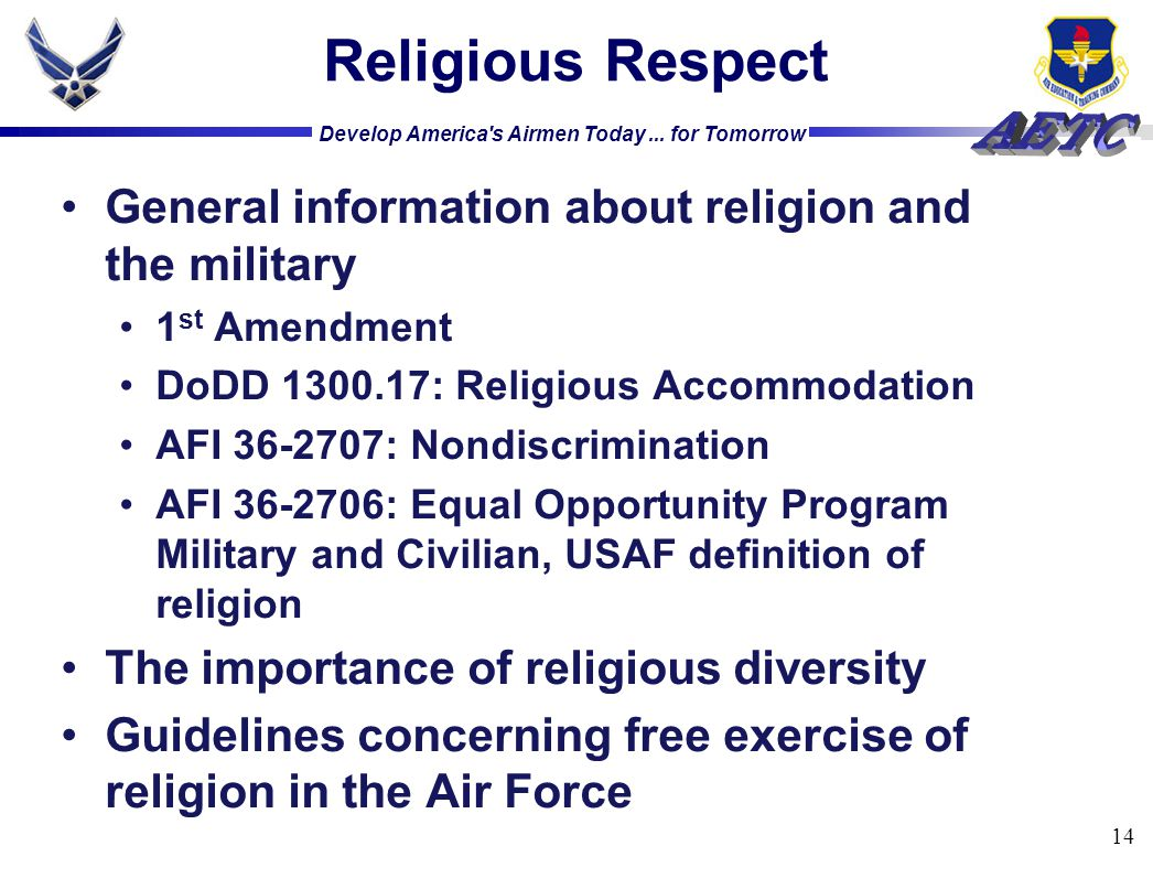 Religious Respect General information about religion and the military