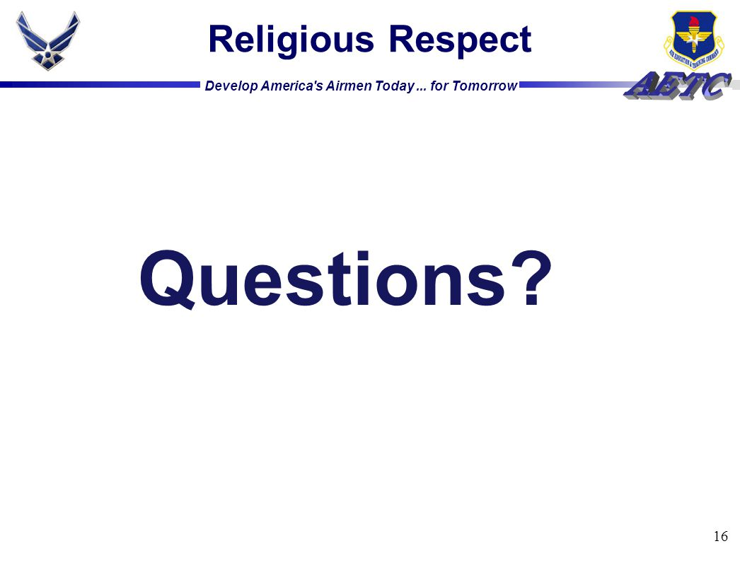 Religious Respect Questions