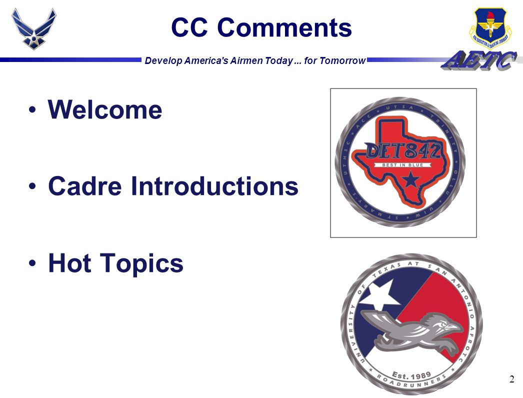 CC Comments Welcome Cadre Introductions Hot Topics