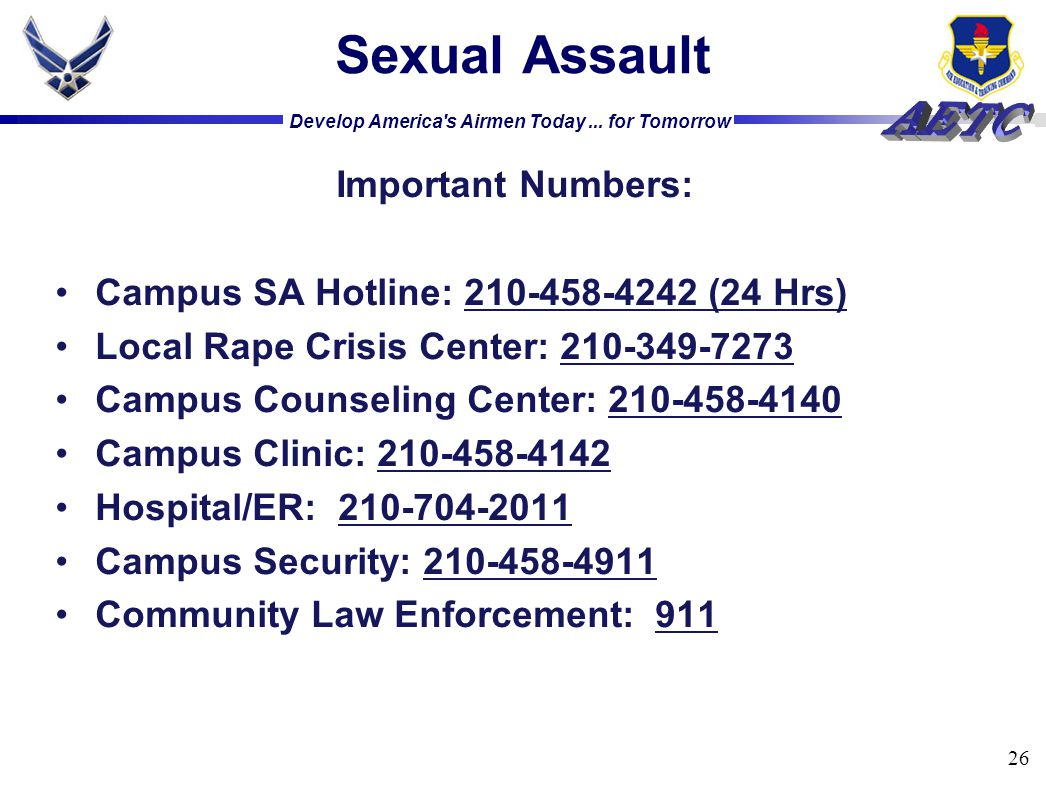 Sexual Assault Important Numbers: