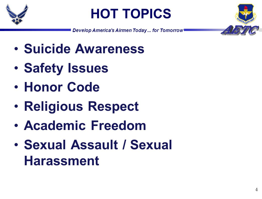HOT TOPICS Suicide Awareness. Safety Issues. Honor Code.