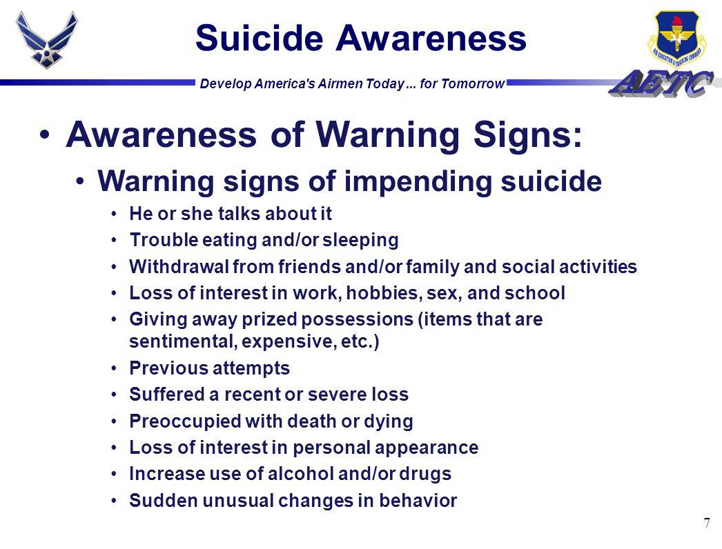 Awareness of Warning Signs: