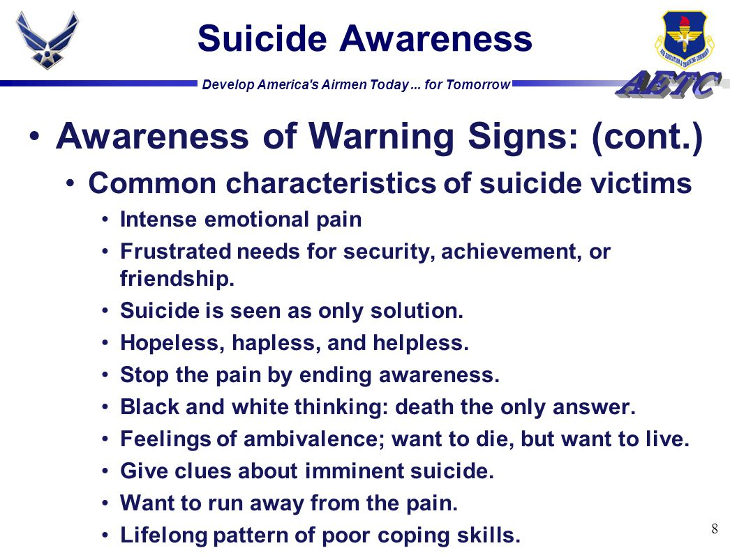 Awareness of Warning Signs: (cont.)