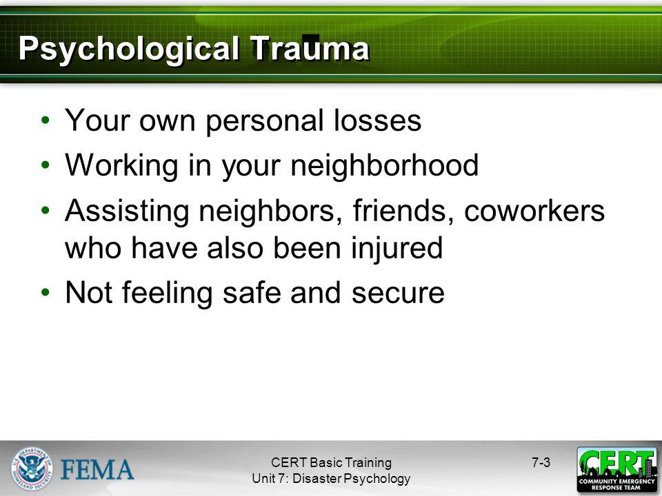 Psychological Symptoms of Trauma