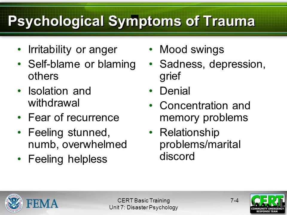 Physiological Symptoms of Trauma