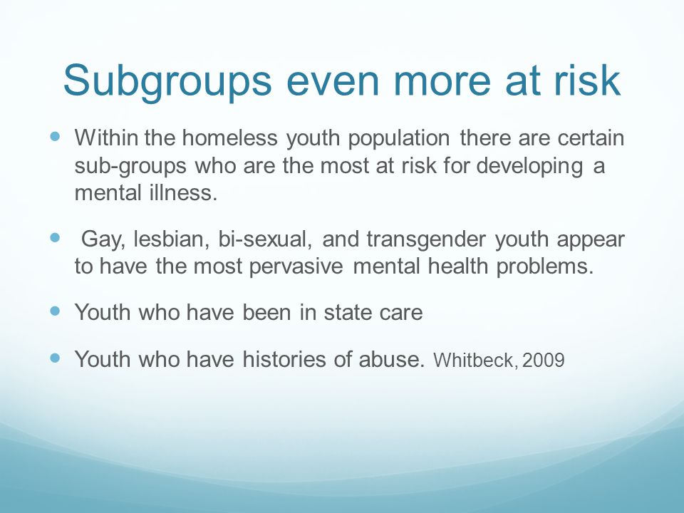 Subgroups even more at risk