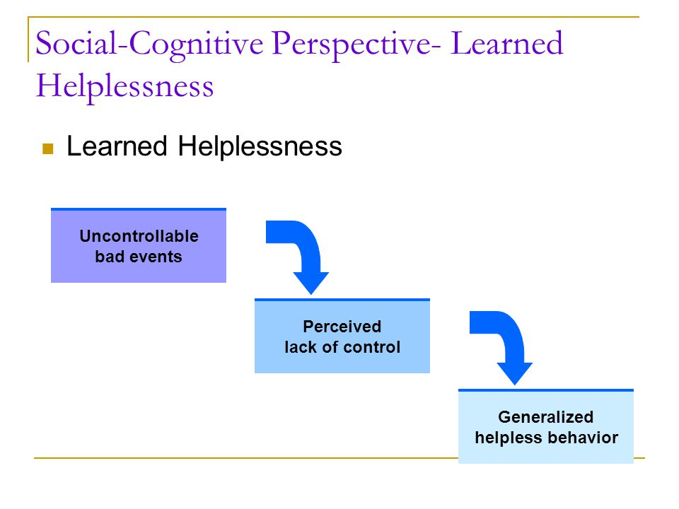 Social-Cognitive Perspective- Learned Helplessness