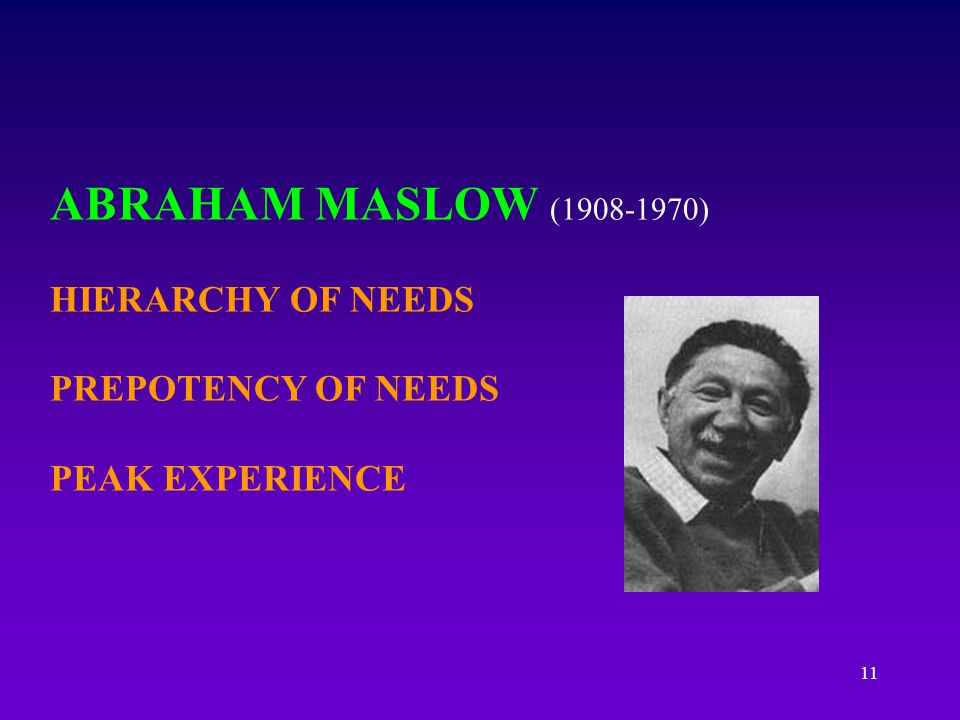 ABRAHAM MASLOW (1908-1970) HIERARCHY OF NEEDS PREPOTENCY OF NEEDS