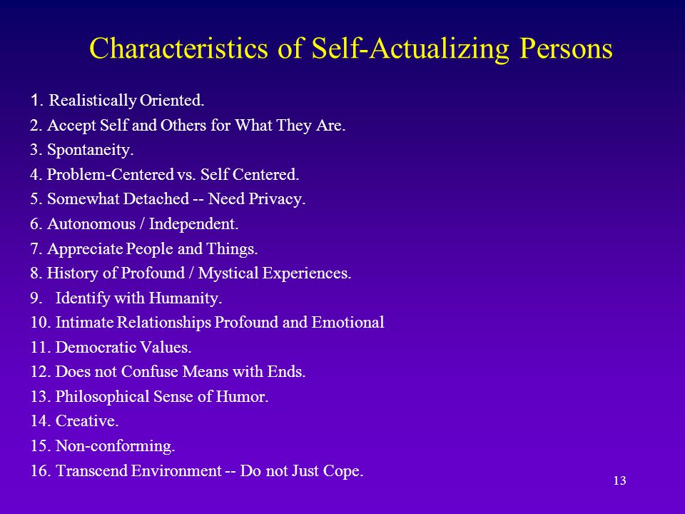 Characteristics of Self-Actualizing Persons