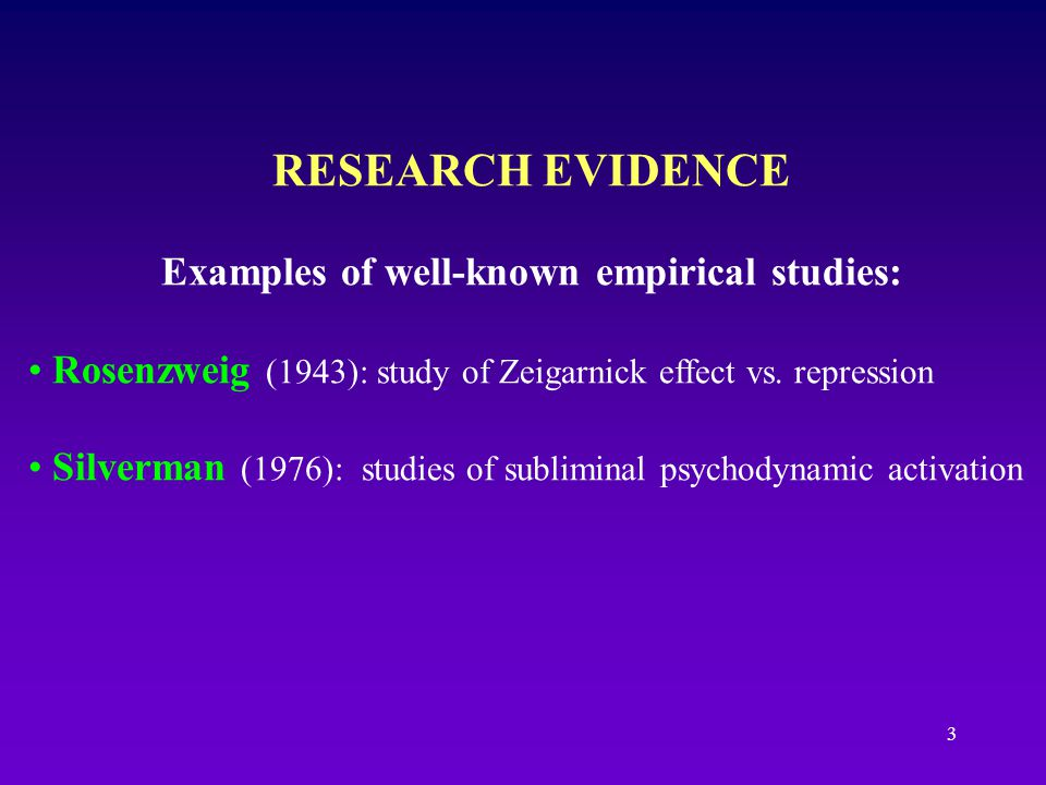 Examples of well-known empirical studies: