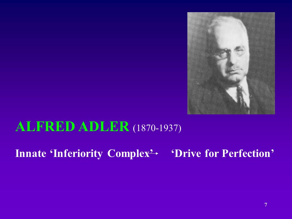 ALFRED ADLER (1870-1937) Innate 'Inferiority Complex' 'Drive for Perfection'