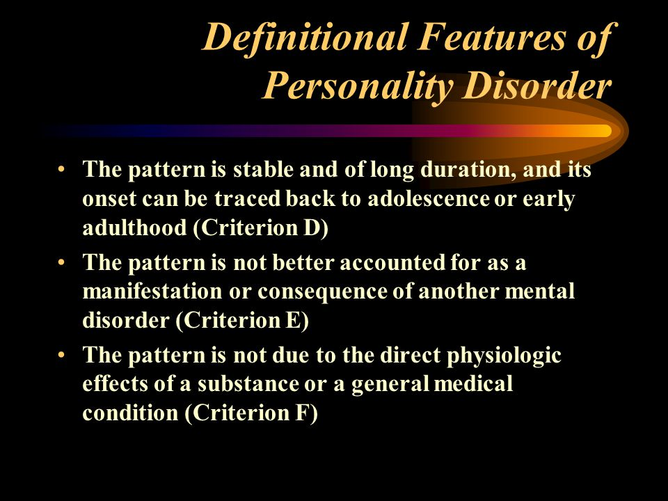 Definitional Features of Personality Disorder