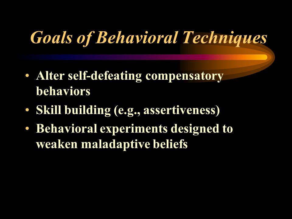 Goals of Behavioral Techniques