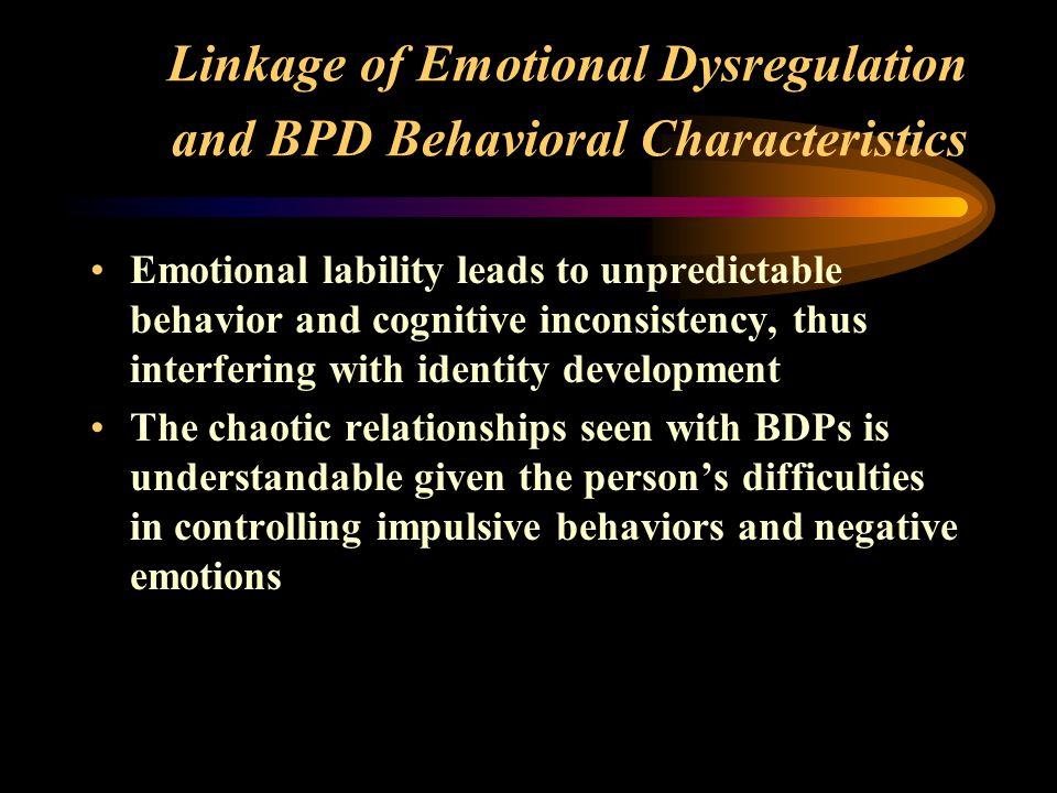 Linkage of Emotional Dysregulation and BPD Behavioral Characteristics