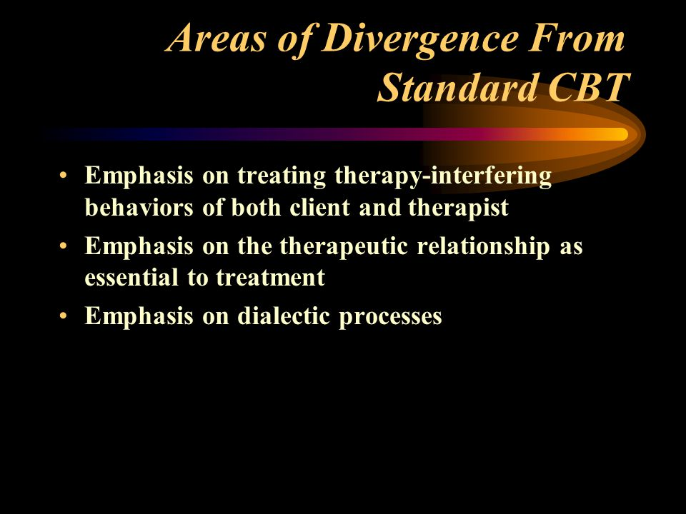 Areas of Divergence From Standard CBT