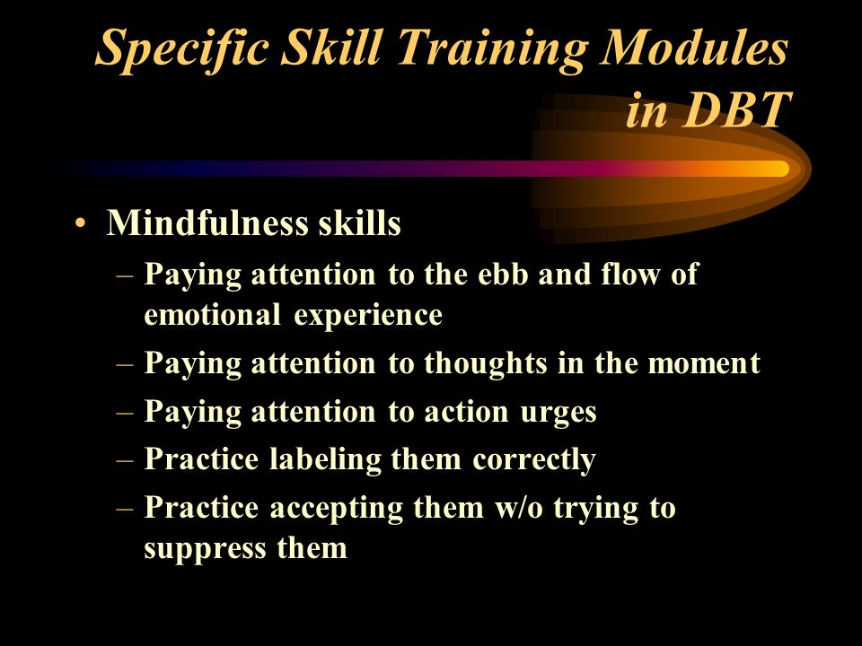 Specific Skill Training Modules in DBT