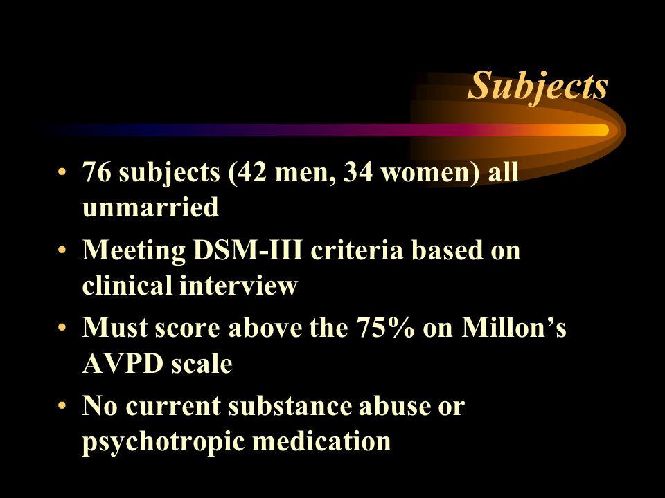 Subjects 76 subjects (42 men, 34 women) all unmarried