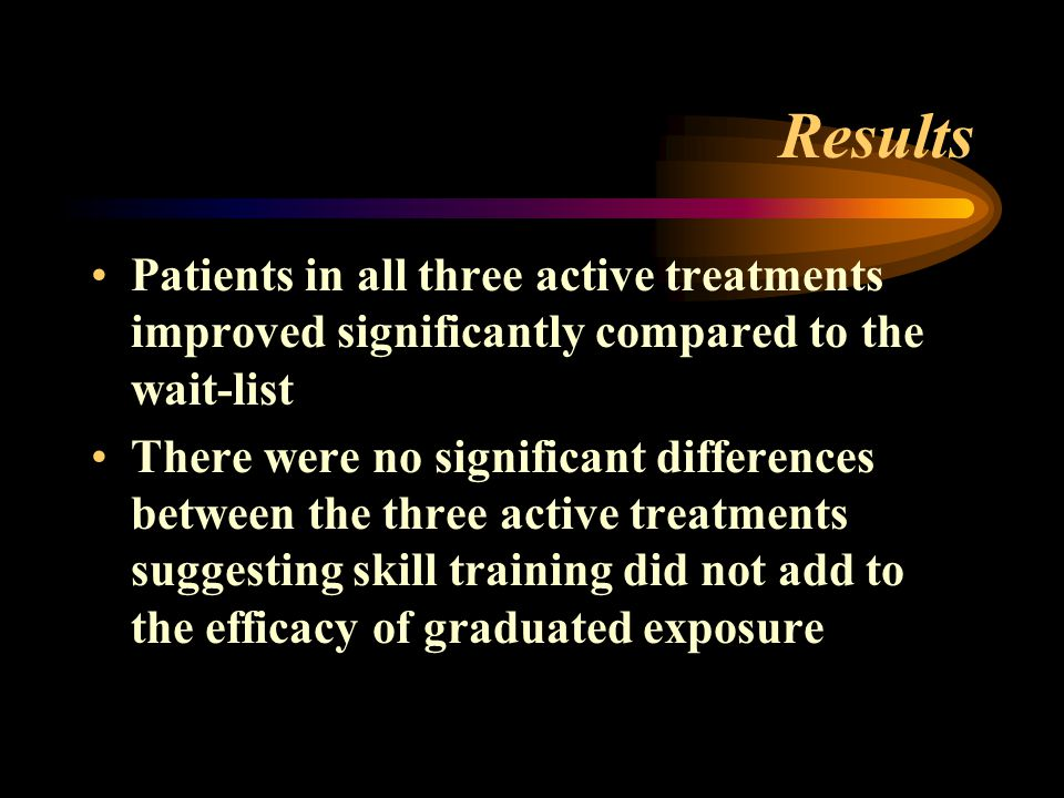 Results Patients in all three active treatments improved significantly compared to the wait-list.