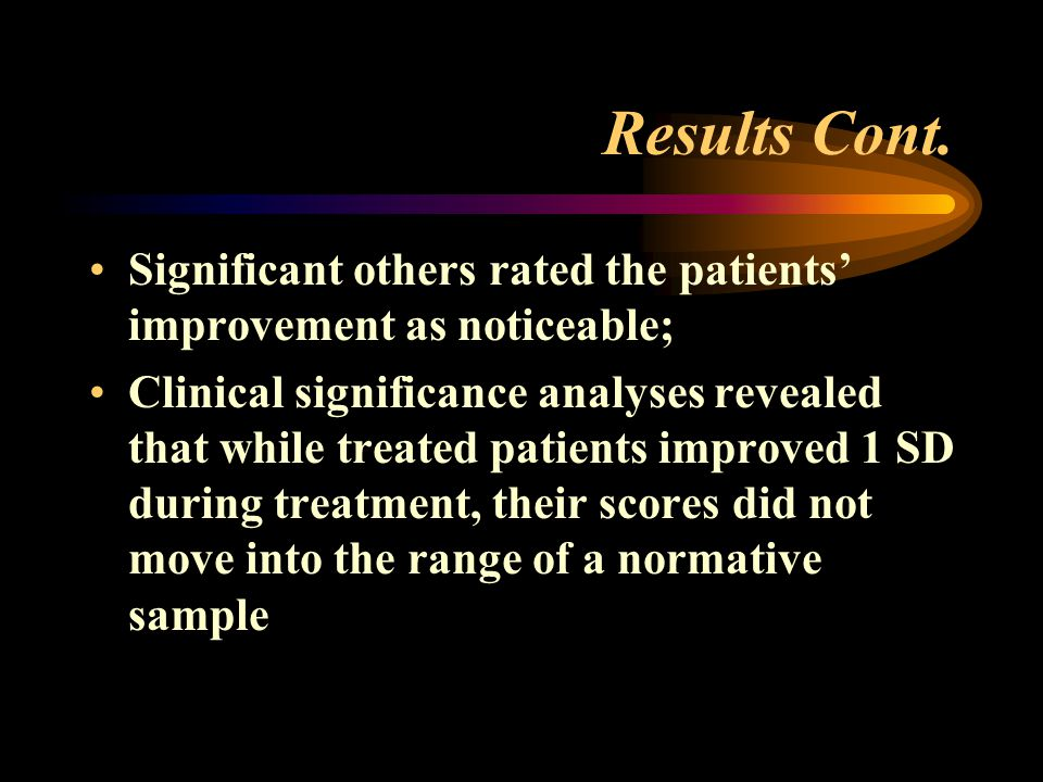 Results Cont. Significant others rated the patients' improvement as noticeable;