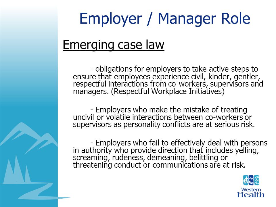 Employer / Manager Role