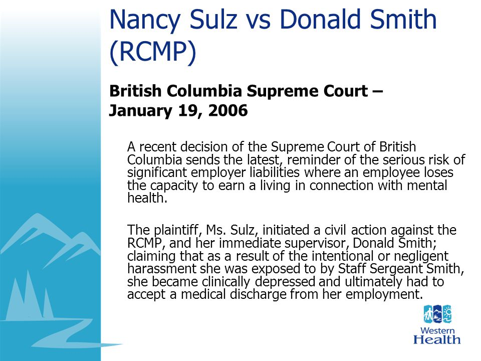 Nancy Sulz vs Donald Smith (RCMP)