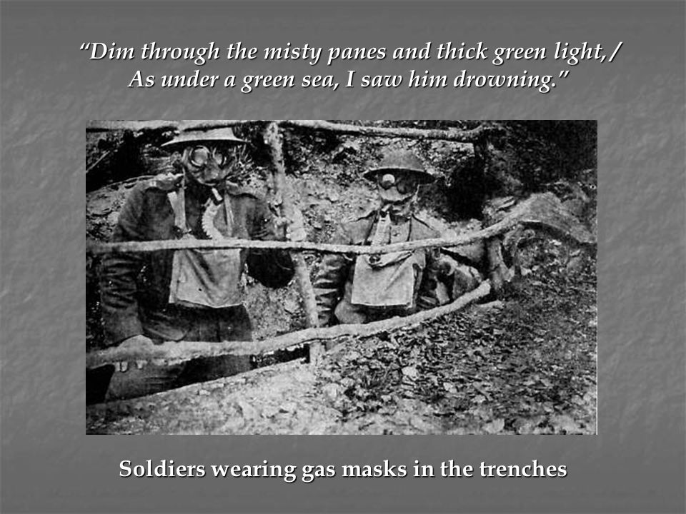 Soldiers wearing gas masks in the trenches