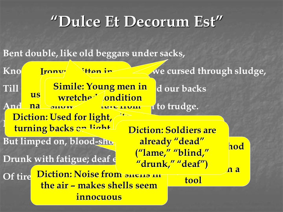 Dulce Et Decorum Est Bent double, like old beggars under sacks,