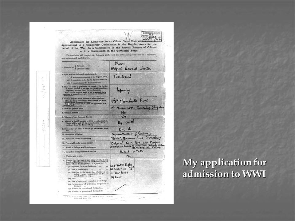 My application for admission to WWI