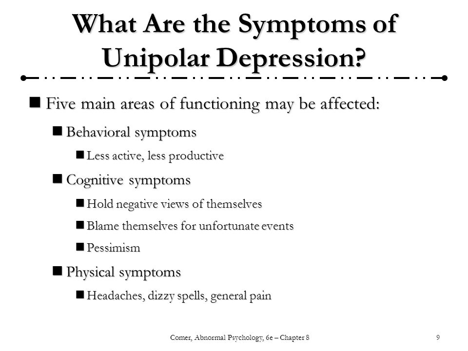 What Are the Symptoms of Unipolar Depression