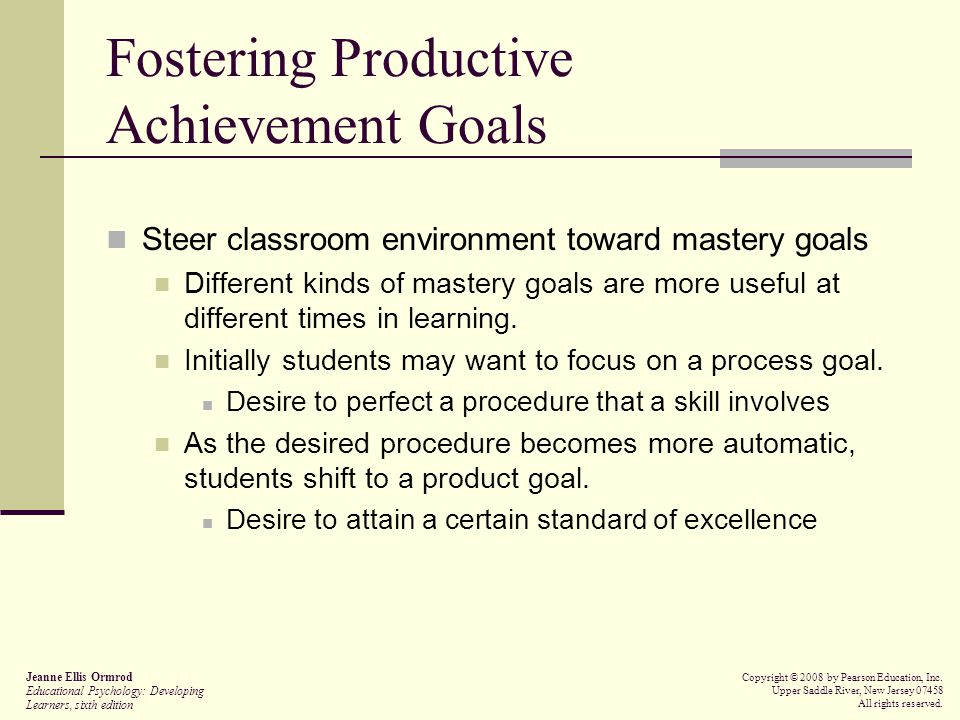 Fostering Productive Achievement Goals