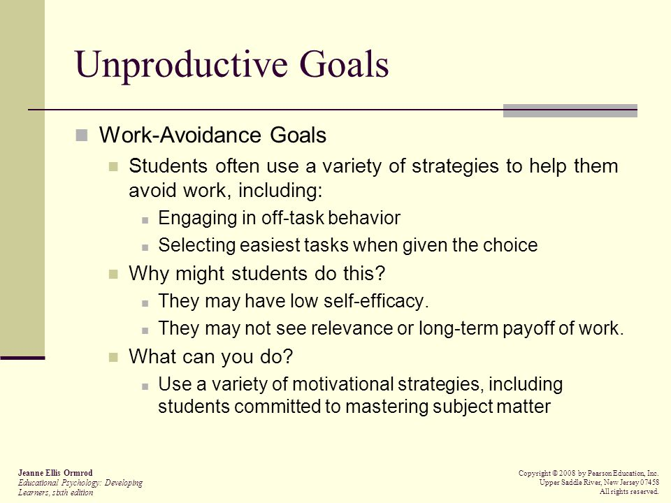 Unproductive Goals Work-Avoidance Goals