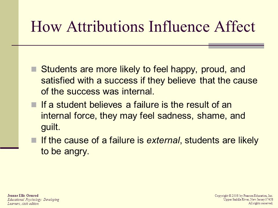 How Attributions Influence Affect