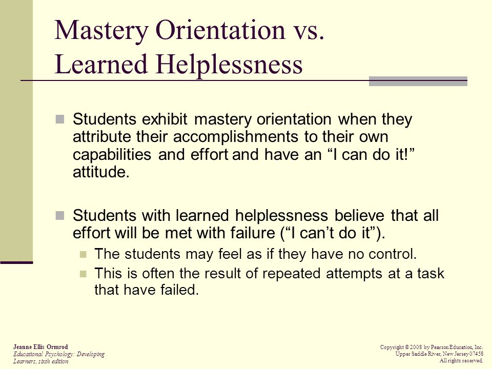 Mastery Orientation vs. Learned Helplessness