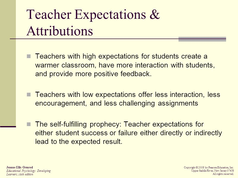 Teacher Expectations & Attributions