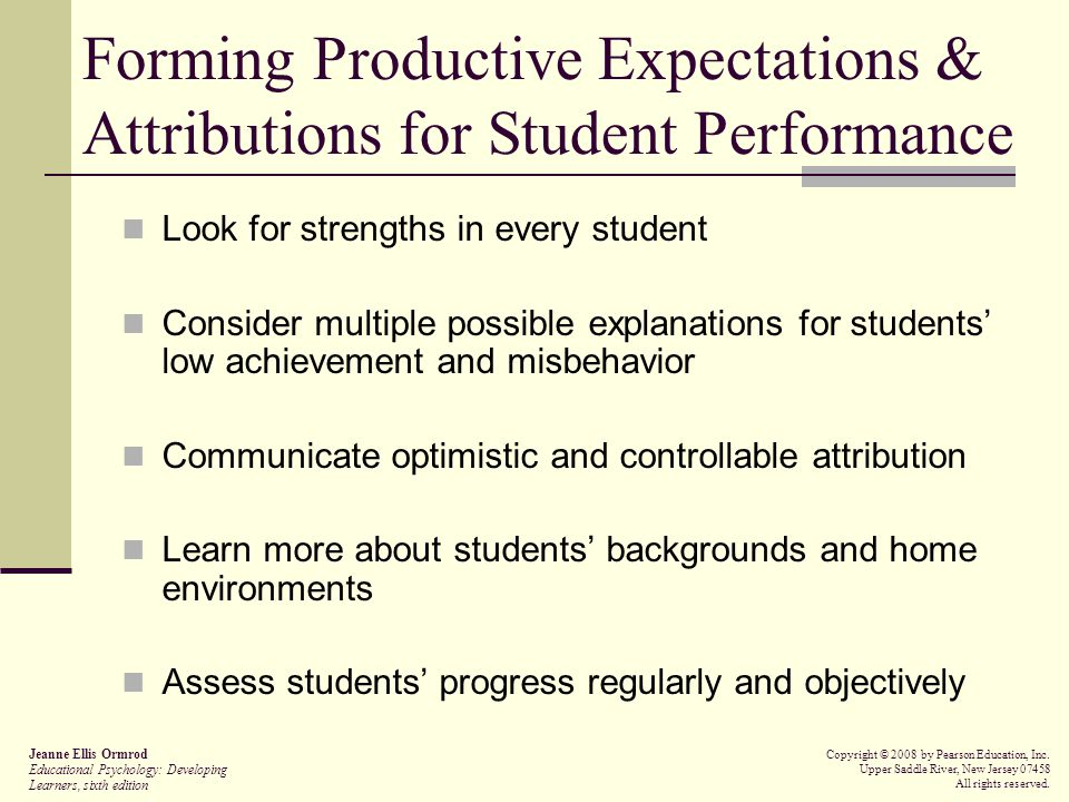 Forming Productive Expectations & Attributions for Student Performance