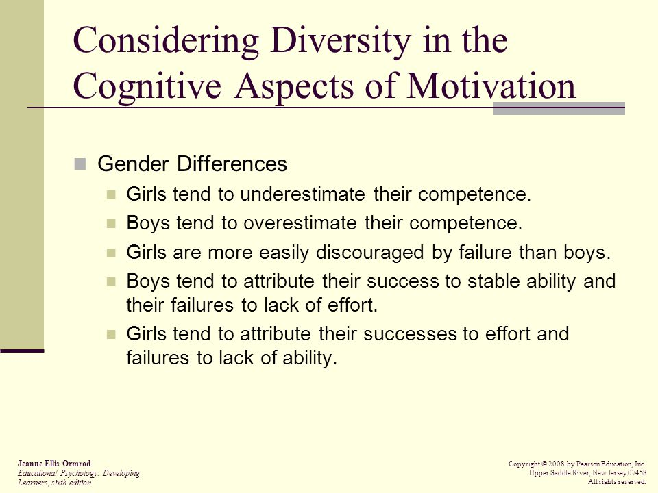 Considering Diversity in the Cognitive Aspects of Motivation