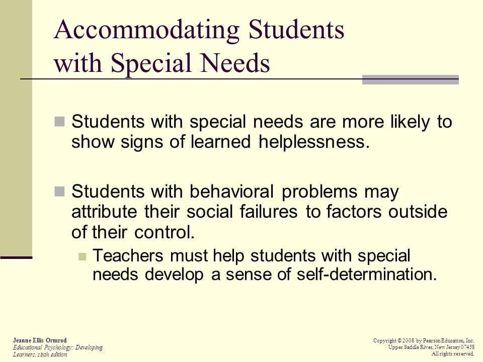Accommodating Students with Special Needs