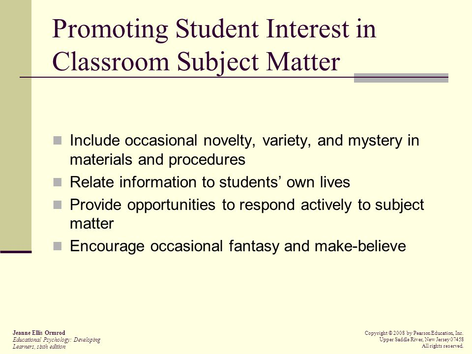 Promoting Student Interest in Classroom Subject Matter