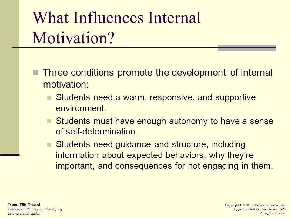 What Influences Internal Motivation