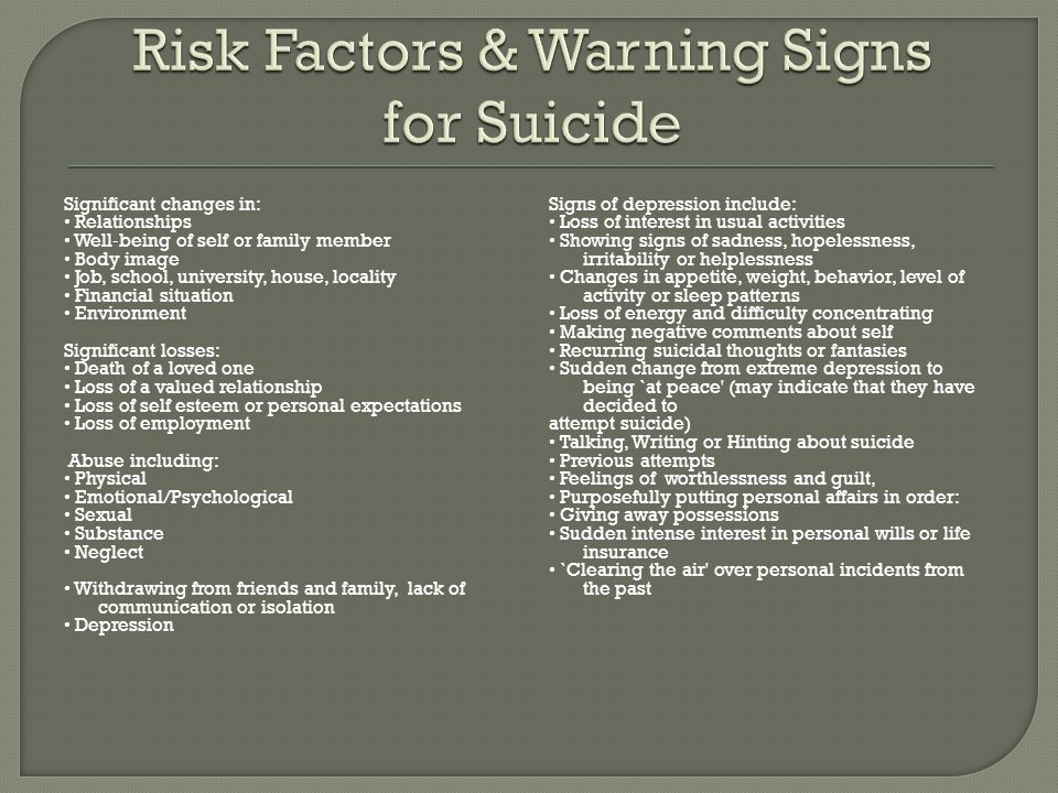 Risk Factors & Warning Signs for Suicide