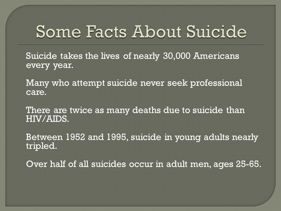 Some Facts About Suicide