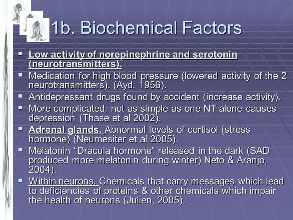 1b. Biochemical Factors Low activity of norepinephrine and serotonin (neurotransmitters).