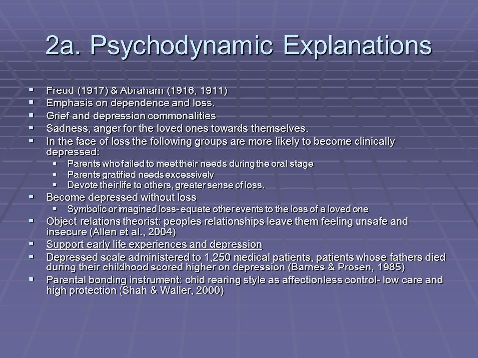 2a. Psychodynamic Explanations