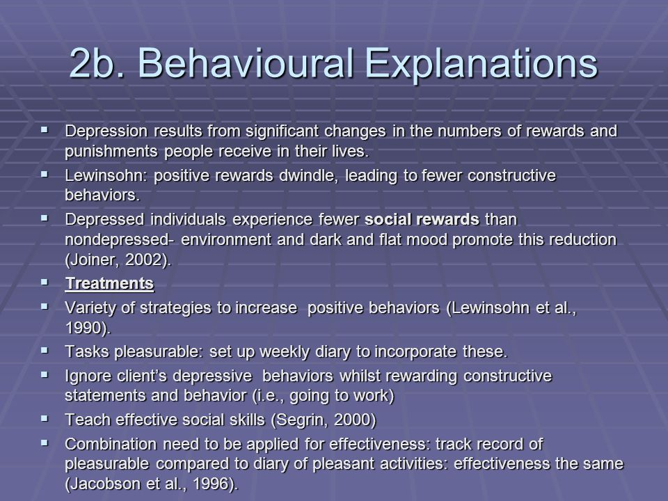 2b. Behavioural Explanations