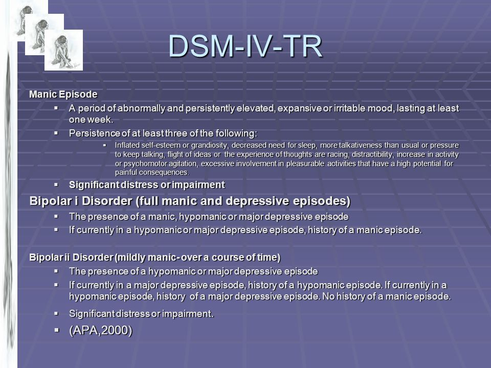 DSM-IV-TR Bipolar i Disorder (full manic and depressive episodes)