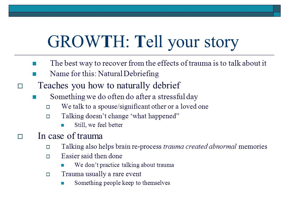 GROWTH: Tell your story