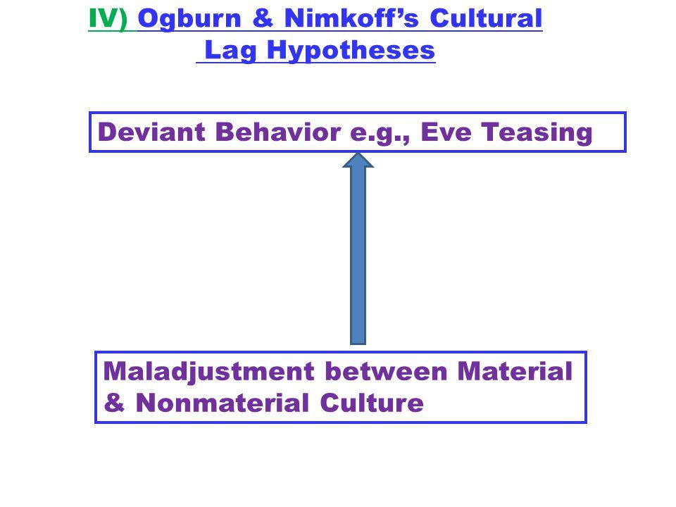 IV) Ogburn & Nimkoff's Cultural Lag Hypotheses