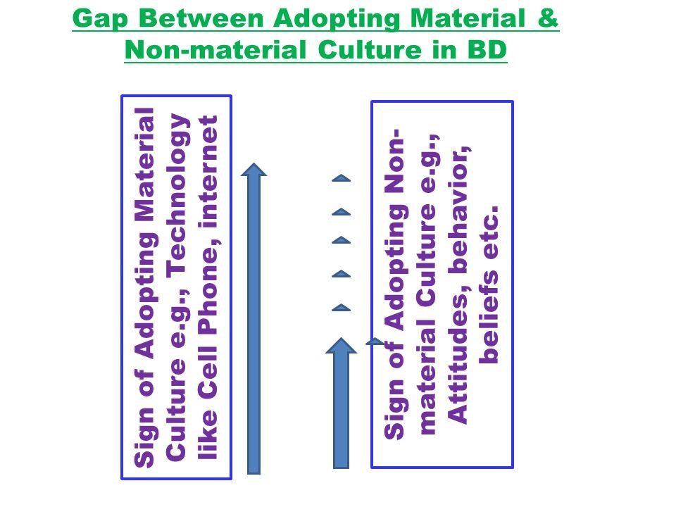 Gap Between Adopting Material & Non-material Culture in BD